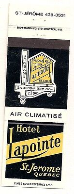 Hotel Lapointe & Grill St. Jerome QC Quebec Matchcover 042117