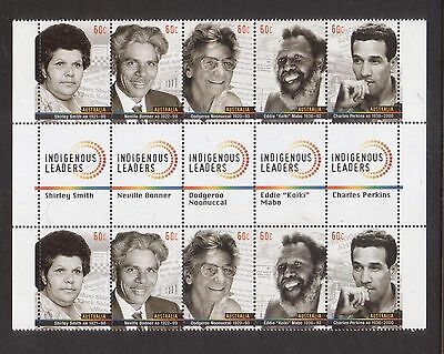 Australia 2013 Indigenous Leaders Mint unhinged gutter strip 10 sheet stamps