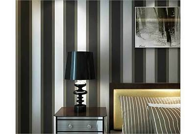 Modern striped BLACK Charcoal gray wallpaper industrial shop fitting wall paper