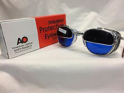 American Optical Welding Glasses Iruv Flip Up Cable Temples Custom Blue Lens!