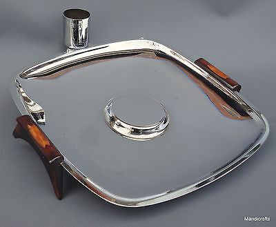 Glo Hill Chrome Serving Tray Bakelite Handles 11in Toothpick Holder MCM Canada
