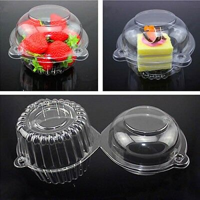 100 Cupcake Clear Plastic Box Single Cake Case Muffin Pod Dome Holder Container
