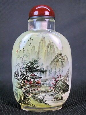 Chinese Scenery Inside Hand Painted Glass Snuff Bottle:Gift Box