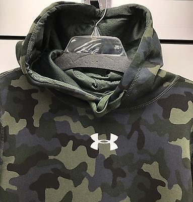 New Under Armour Men's Hoodie Hooded Sweatshirt Green Camo Size Small LOOSE