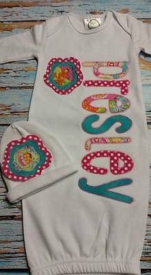 """Personalized Baby Gown & Hat Set (Girl) """"My Presley"""" any one name"""