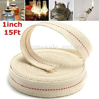1'' 15 Foot Roll Replacement White Flat Cotton Wick For Oil Lamps and Lanterns