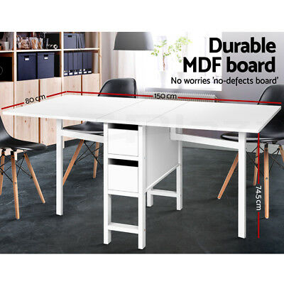 Gate leg Extendable Dining Table Change Convertable Folding Storage Drawers