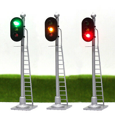 JTD433GYR 2pcs  Model Railroad Train Signals 3-Lights Block Signal  O Scale 12V