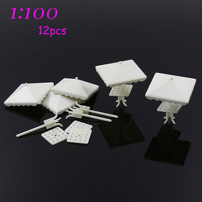 TYS01100 12pcs DIY Train Square parasol Model Four corners Gifts 1:100 TT Scale