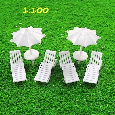 TYS36100 2 Sets Parasols Sun Loungers Deck Chairs Bench Settee 1:100 Scale Model