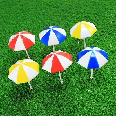 TYS11050 6pc Model Train Sun Umbrella Parasol Colorful 1:50 O Scale Garden Beach