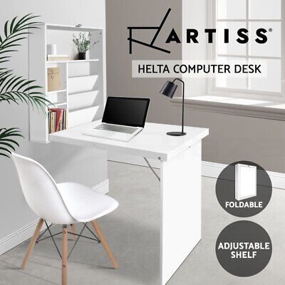 Artiss Foldable Convertible Computer Desk Office Table Storage Bookcase Shelf