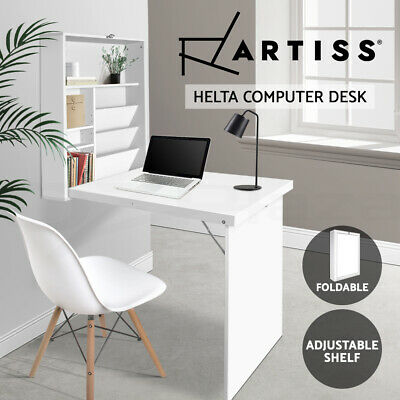 Artiss Foldable Wall Mount Computer Desk Study Office Table Storage Bookcase