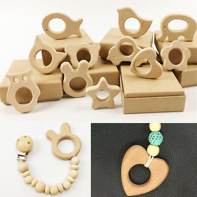11pcs Holder Nurs Eco-Friendly Wooden Teether Organic Baby Teethers Toys New