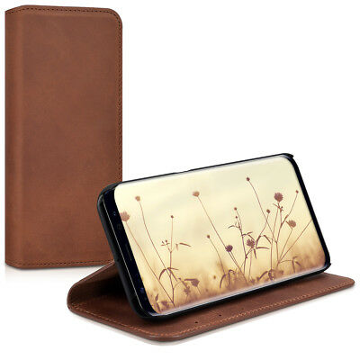 Genuine Leather Flip Folio Wallet Case for Samsung Galaxy S8