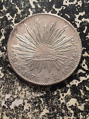 1876-Go FR Mexico 8 Reales Lot#3501 Large Silver Coin! High Grade! Beautiful!