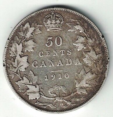 Canada 1910 50 Cents Half Dollar King Edward Vii Sterling Silver Canadian Coin