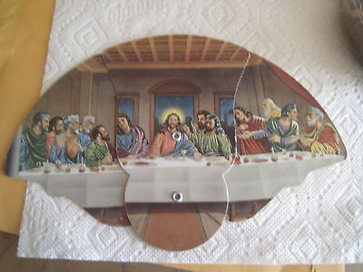 Advertising Tri Folding Fan Harris Funeral Home Highland Illinois Last Supper