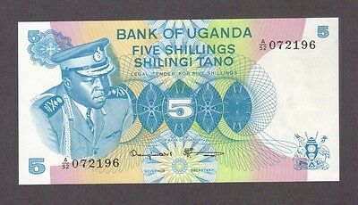 1973 5 Shillings Idi Amin Uganda Currency Unc Banknote Note Money Bank Bill Cash