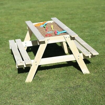 Rebo Sand And Picnic Table Wooden Table with Lift off Lid and Hidden Sandpit