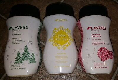 Scentsy Layers Washer Whiffs Lot (3) 16oz HTF Autumn Winter Pine Cranberry New