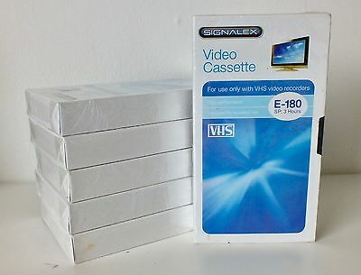 6 x Signalex E180 VHS VIDEO TAPES - NEW & SEALED