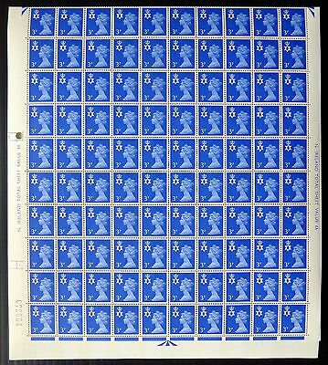 GB NORTHERN IRELAND Machin 3p Phosphor 2 Bands Complete Sheet of 200 NB709