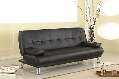 Faux Leather Sofa Bed 3 Seat Black Brown Cream With Armrests Chrome Legs Sofabed