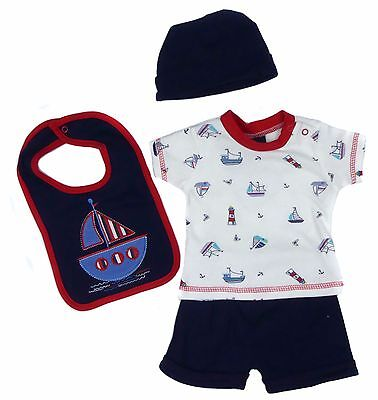 Baby Boys Summer Four Piece Outfit Set Shorts T-shirt Hat Bib Set Boat Themes