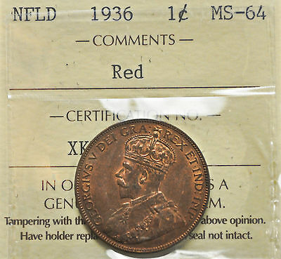 1936 Newfoundland One Cent ICCS graded MS-64