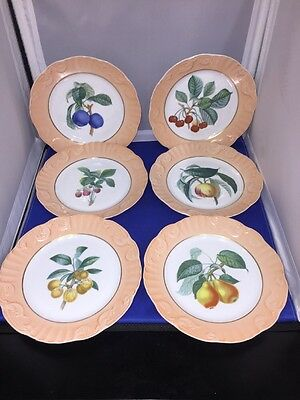 Summer Fruit Mottahedeh Dessert Salad Plate Plates Set of 6 VA 1824 Portugal