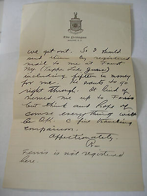 The FLANAGAN Hotel  MALONE NY  Faust Tupper Lake June  c 1920 LETTER Very NICE !