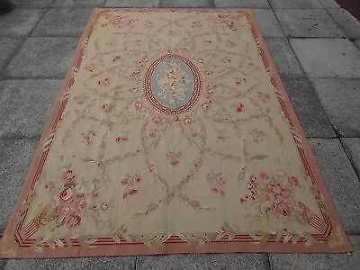Old Hand Made French Design Wool 8x6 Beige Pink Original Aubusson 243X167cm