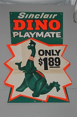 "VINTAGE ORIGINAL SINCLAIR ADVERTISING SIGN DINO PLAYMATE GAS STATION  67"" x 46"""