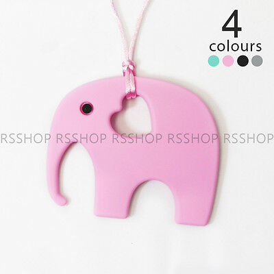 Baby Chewable Silicone Teether Elephant Pendant Necklace for Mom BPA Free