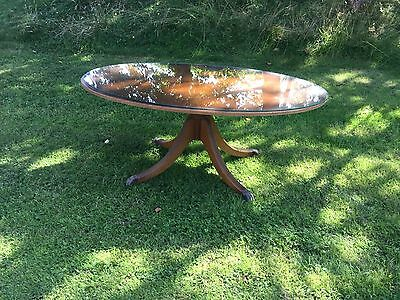 Reproduction Antique Oval Coffee Table Glass Top Good Condition