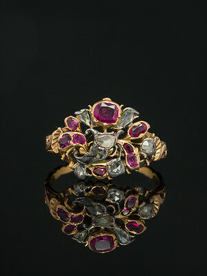 Genuine Georgian Rare Natural Ruby And Diamond Giardinetti Antique Ring