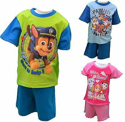 Kids Boys Girls Paw Patrol Short Summer Pyjamas Pjs Sleepwear Sizes 1 to 4 Years