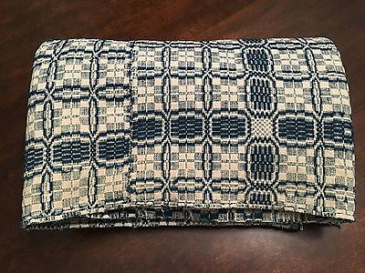 K) 1860s Antique Virginia Civil War Era Blue White Checkered Pattern Coverlet