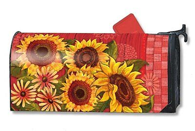 Magnet Works Mailwraps Red Barn Sunflowers Original Magnetic Mailbox Wrap Cover