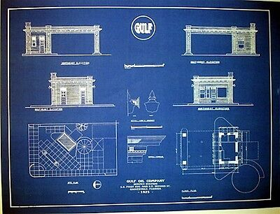 "Vintage Gulf Oil Company 1925 Gas Station Blueprint Plan 18""x24""  (257)"
