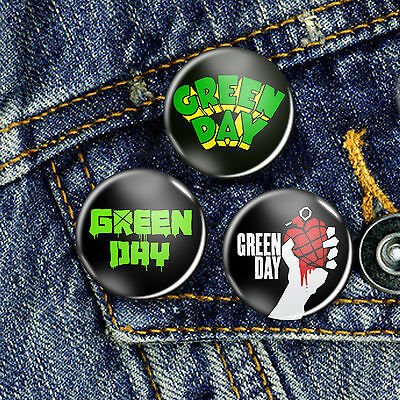 Green Day Punk Pin Button Badge 25mm, CHOICE OF 3