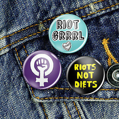Riot Grrrl Button Set 3 x 25mm Badge 25mm, CHOICE OF 3