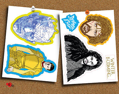 Game of Thrones Set of 5 Die Cut Gloss Stickers, for Laptop, Planner or Whatever