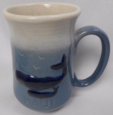 K&S Hawaiian Creations Hand Crafted POTTERY Stoneware Mug MAUI Hawaii WHALE CALF