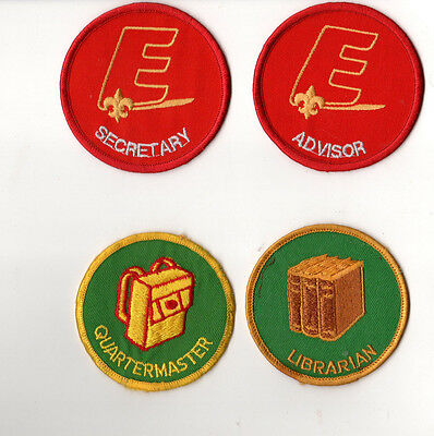 Boy Scouts of America Set of 4 Badges Advisor Quartermaster Librarian Secretary