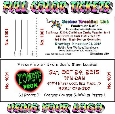 FULL COLOR 100 RAFFLE-Event-Door-Admission TICKETS Heavy Stock Money Fundraiser