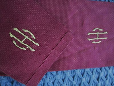 EMBROIDERED MONOGRAM LETTER H NAPKIN or HANDKERCHIEF SET of 2 STURDY LINEN VTG