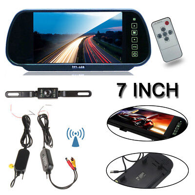 "Car Backup Camera Rear View System Night Vision+Wireless 7"" LCD TFT Monitor US"
