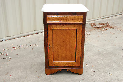 Gorgeous Victorian Empire Birdseye Maple Flame Mahogany Marble Top Nighstand